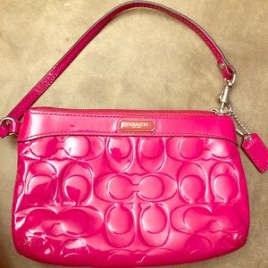 COACH Small Hot Pink Patent Leather Wrislet
